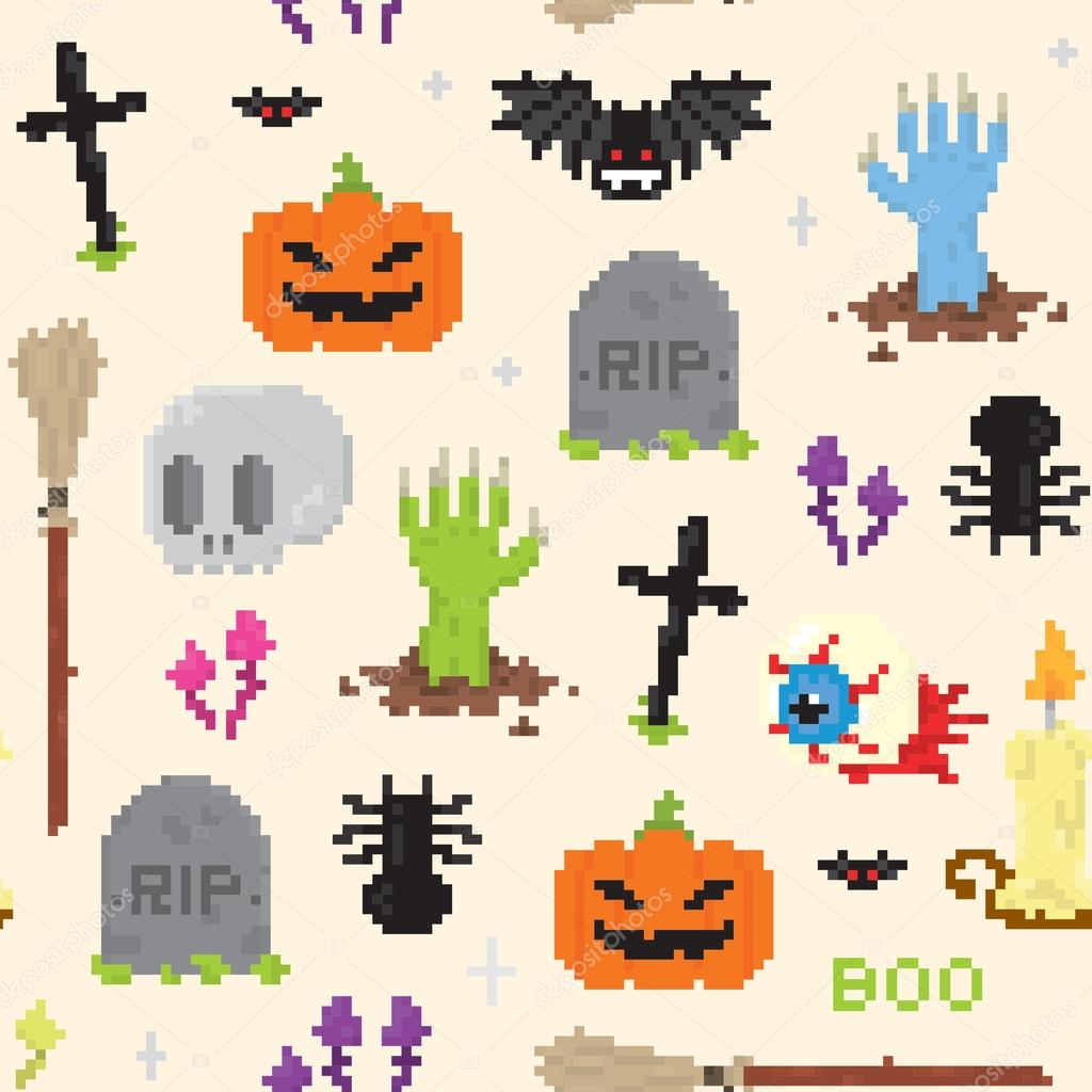 Halloween Pixel Art Pattern Stock Vector Dmitriylo 58513917