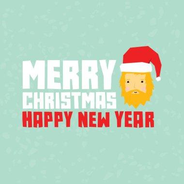 Happy new year hipster santa postcard