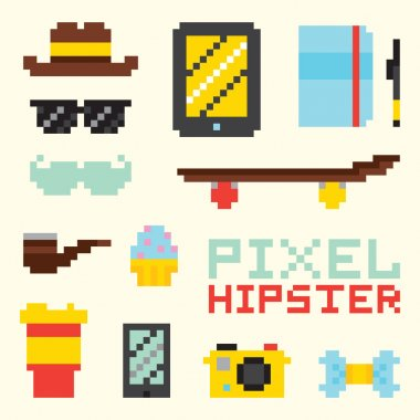 Pixel hipster isolated vector objects