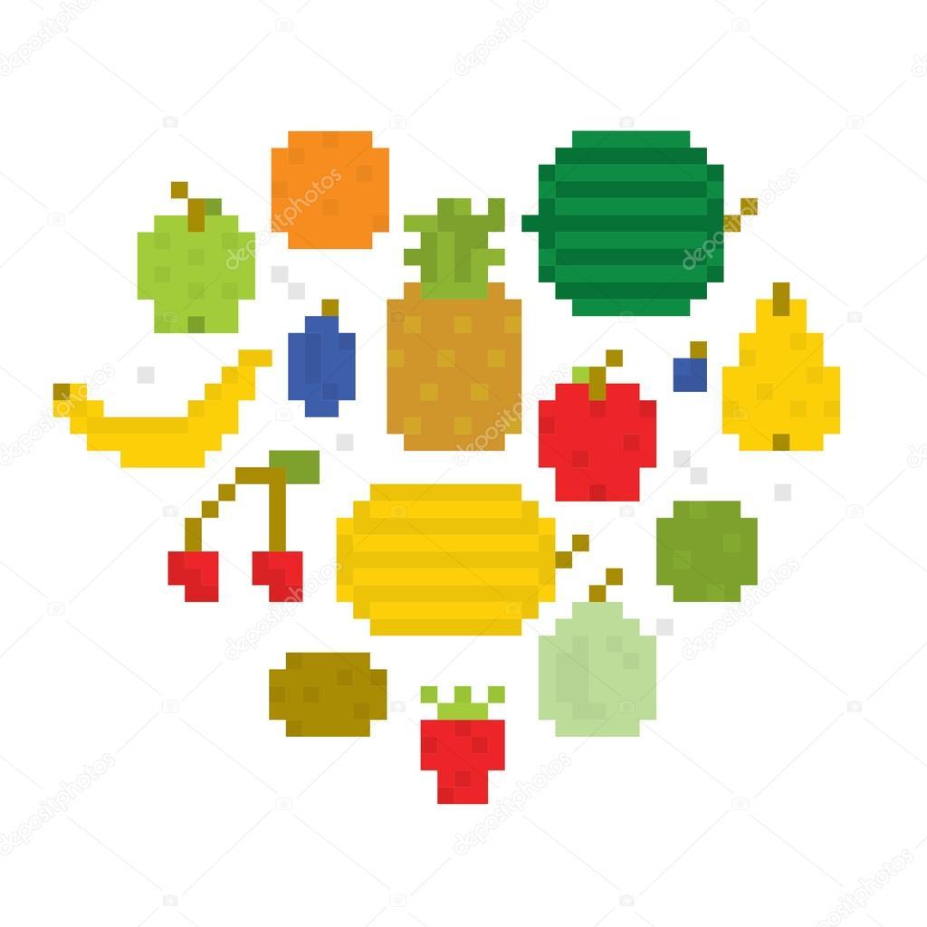 Heart Of Fruits Pixel Art I Stock Vector Dmitriylo 58532261