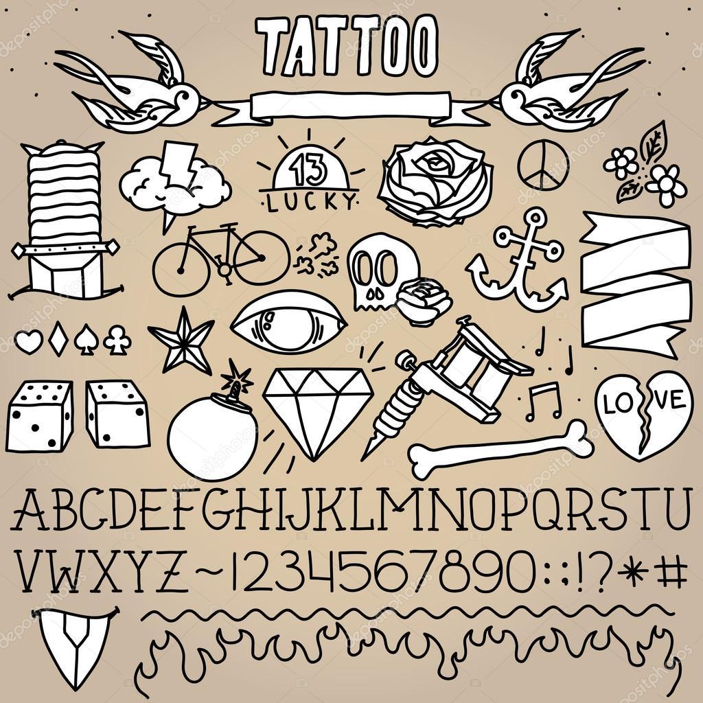 Oude School Tatoeage Objecten Pack Stockvector Dmitriylo 58532335