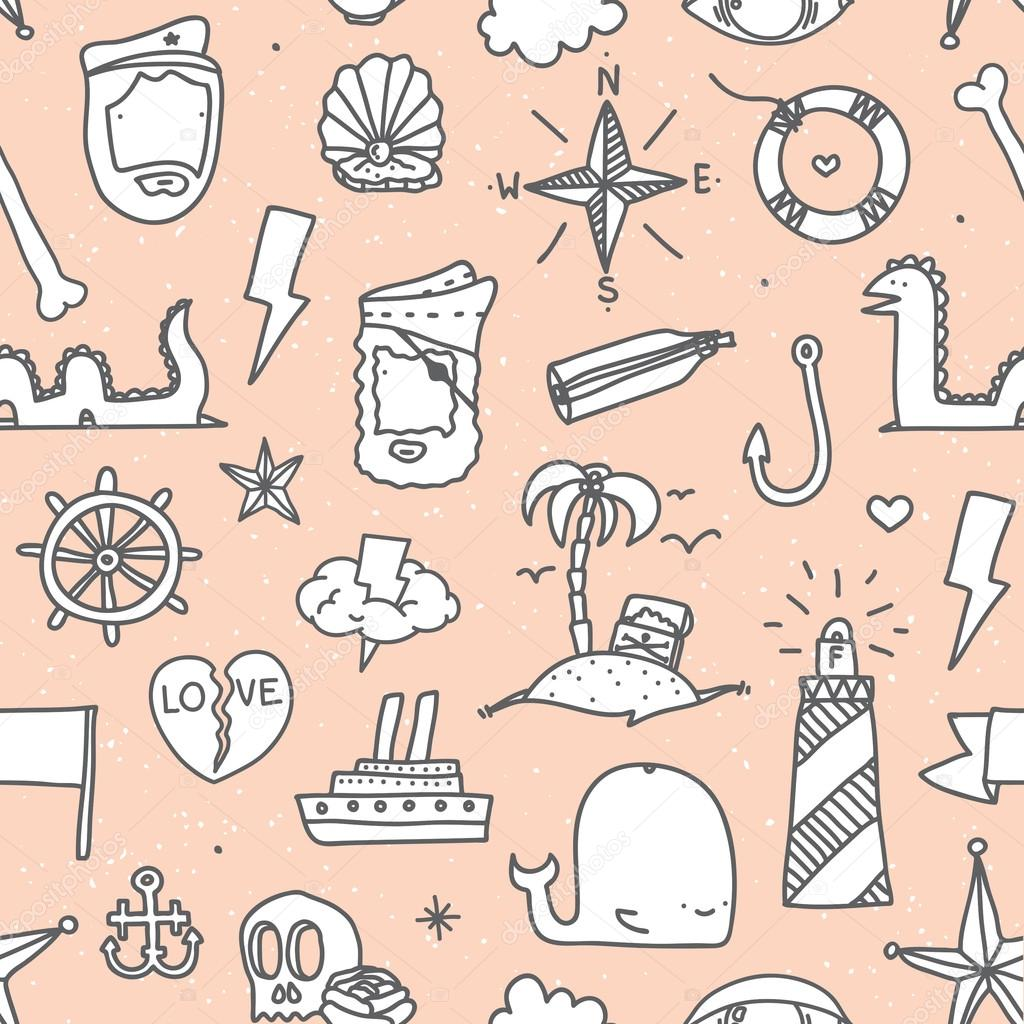 Pirate tattoo seamless vector pattern