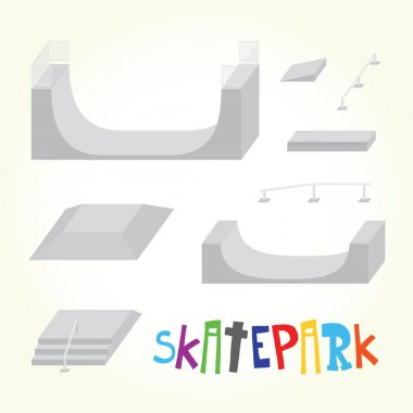 Skatepark isolated vector parts