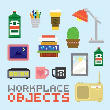 Workplace objects in pixel art style vector set stock vector