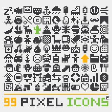 Pixel art web icons vector set 2