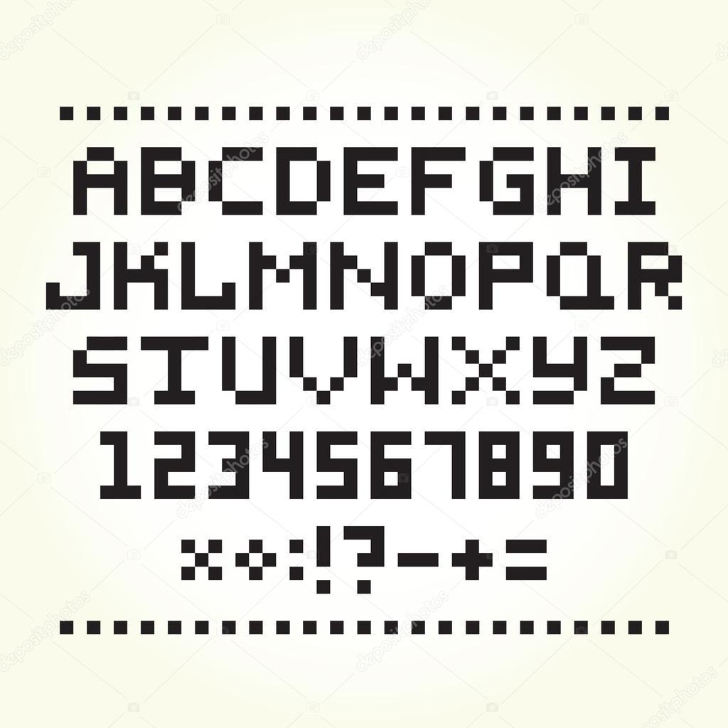 픽셀 아트 스타일 글꼴 고립 된 벡터