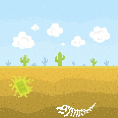 Pixel art desert vector illustration
