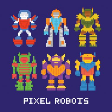 Pixel art isolated robots vector set