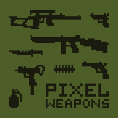 Pixel art weapons vector set