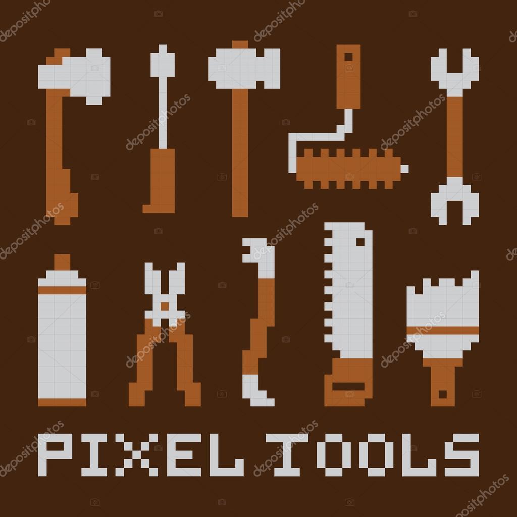 Pixel art isolated tools vector set
