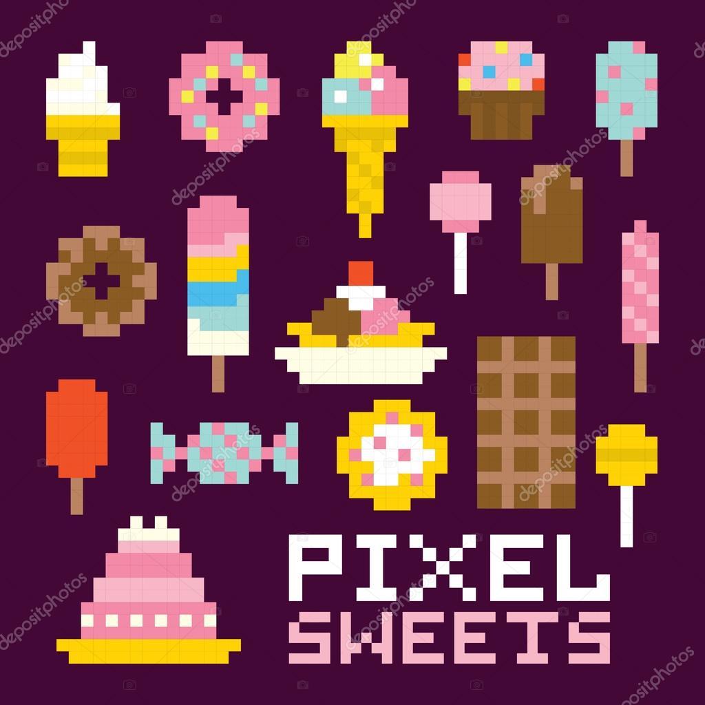 Bonbons De Pixel Art Isolé Vector Ensemble Image