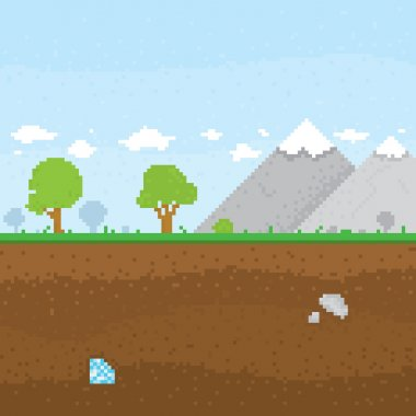 Pixel art mountain location vector illustration