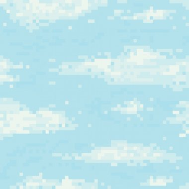 Pixel art sky seamless vector pattern
