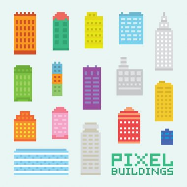 Pixel art isolated buildings vector set