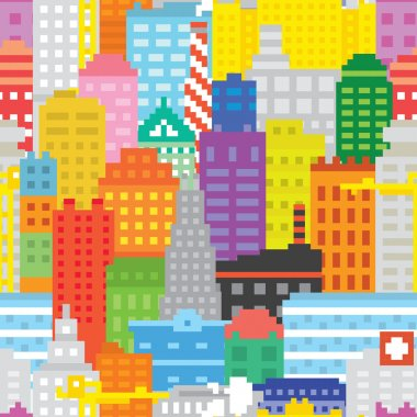 Pixel art city seamless vector pattern