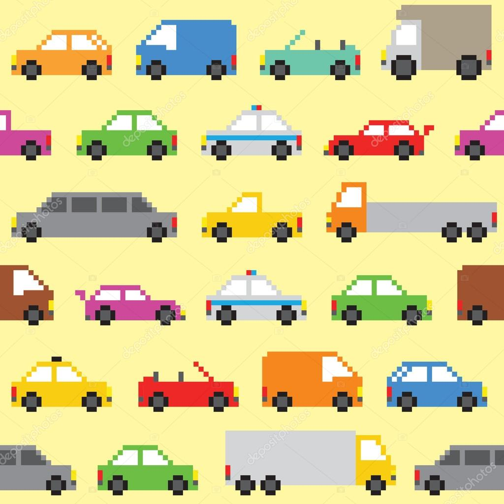 Pixel Art Cars Seamless Vector Pattern Stock Vector