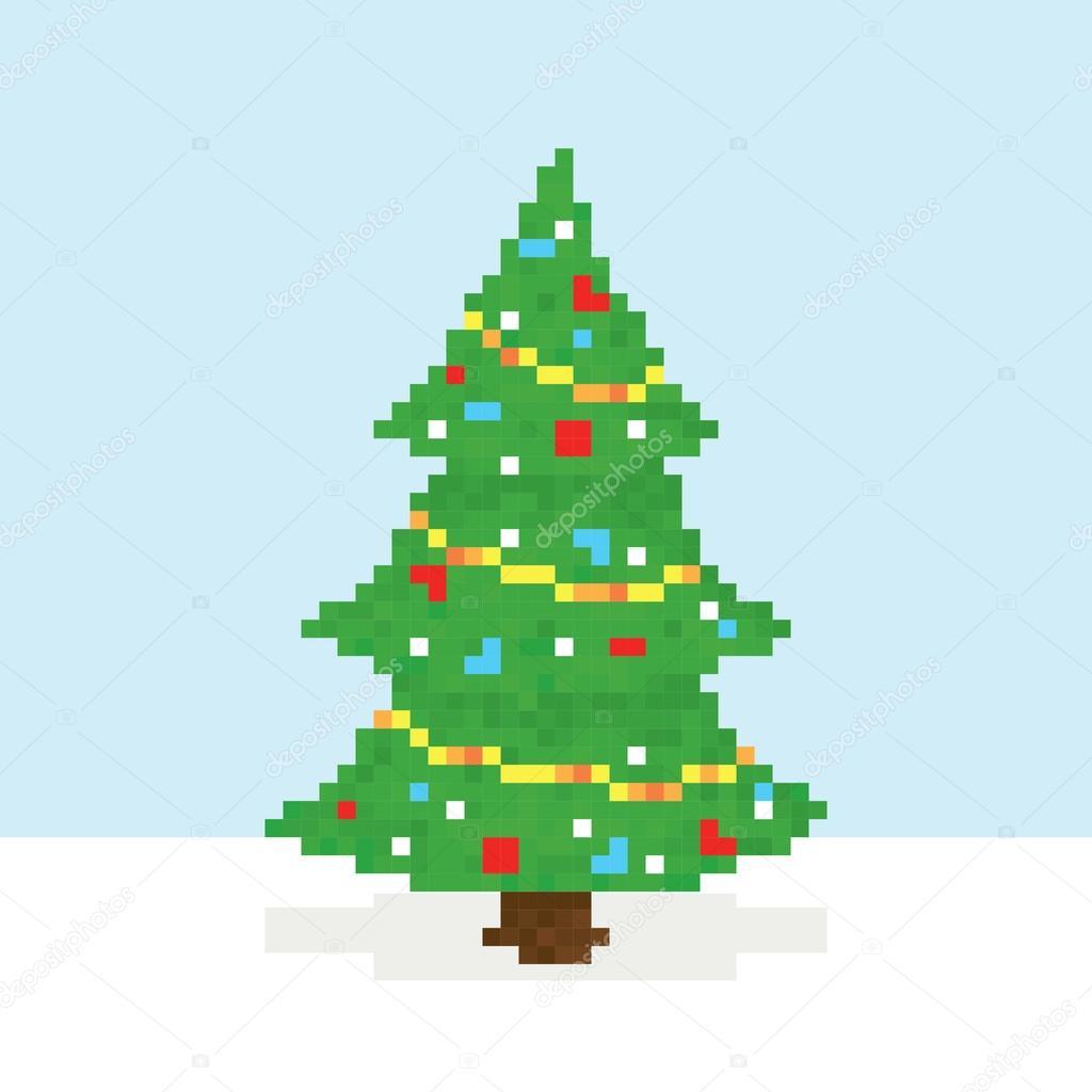 Pixel art christmas tree vector postcard — Stock Vector