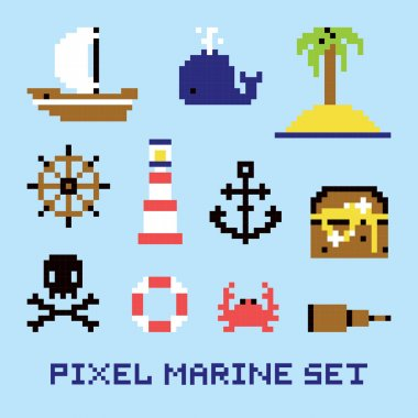 Pixel art marine isolated vector set