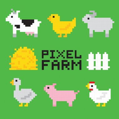 Pixel art farm animals isolated vector set