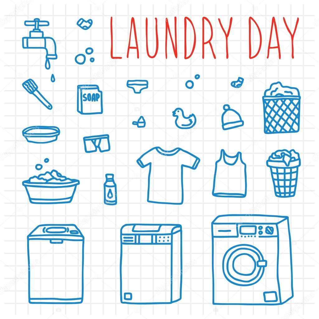 Laundry day hand drawn doodle vector objects