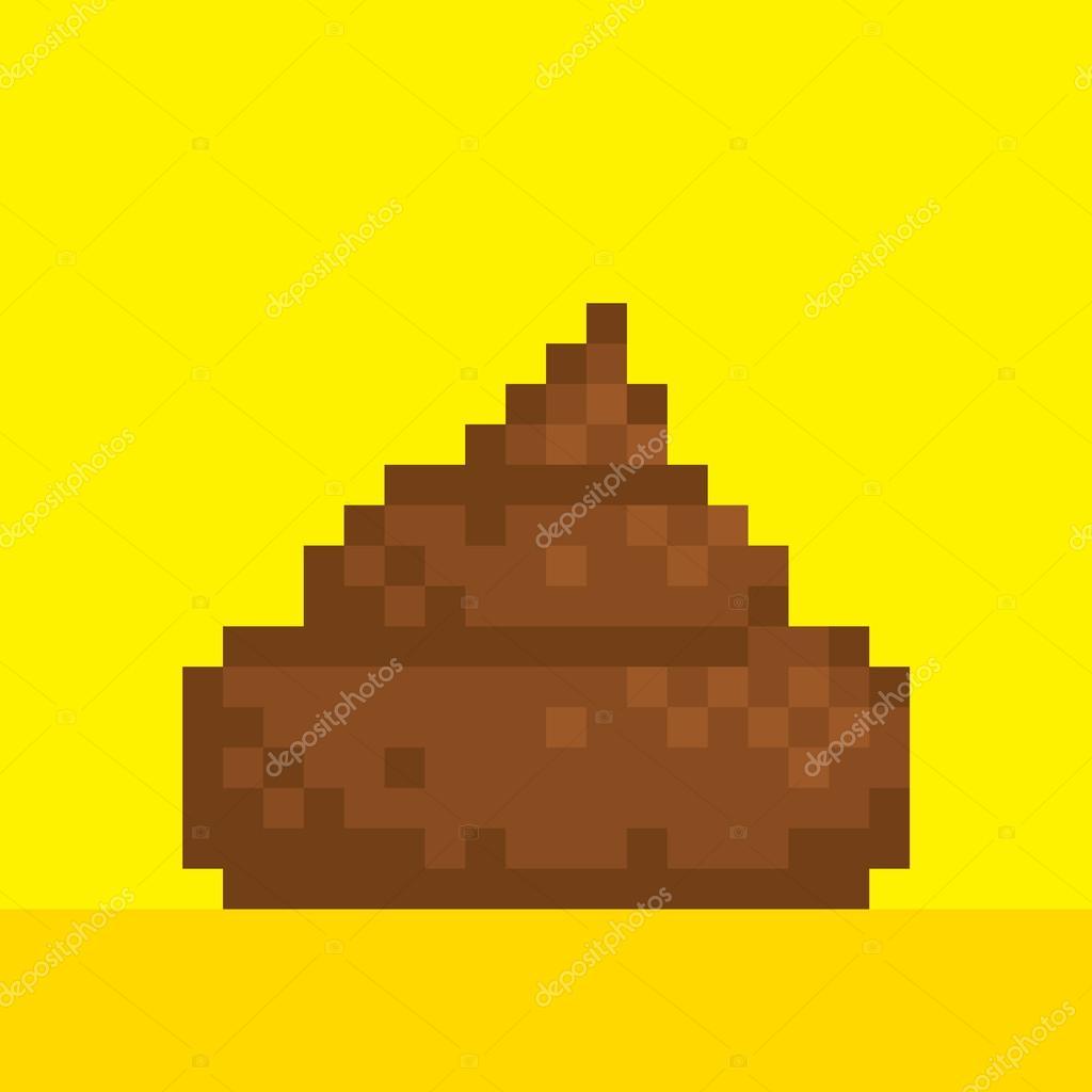 Pixel Art Style Caca Sur Illustration Vectorielle Jaune