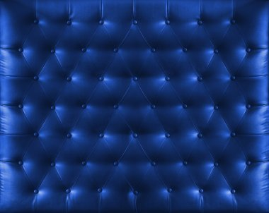 Close up retro chesterfield style, Blue capitone textile backgro