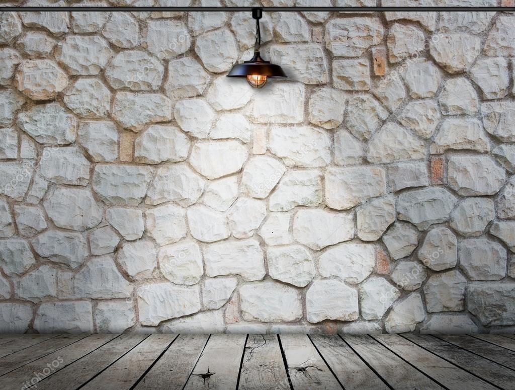 Stenen Muur Interieur : Licht op stenen muur op houten vloer kamer interieur moderne stijl