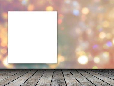 Blank frame on bokeh background