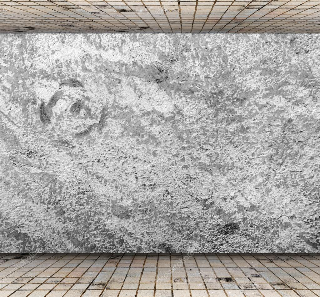 Grungy concrete wall with floor tile, Template for product display ...