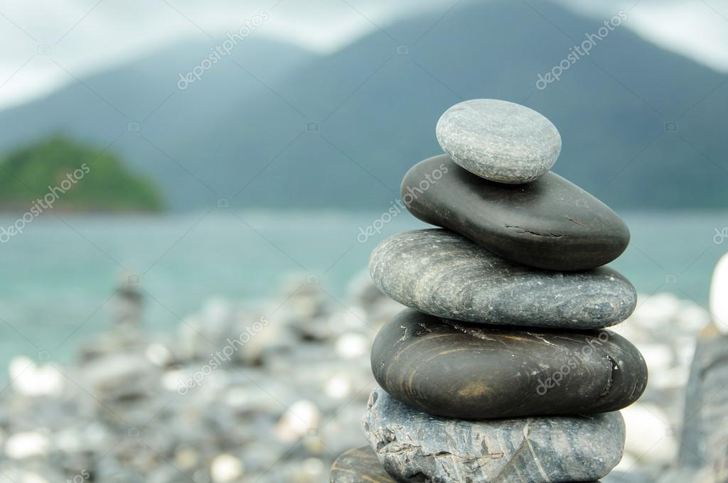 Stones stacked on HIN NGAM Island, TARUTAO National Park, Thailand