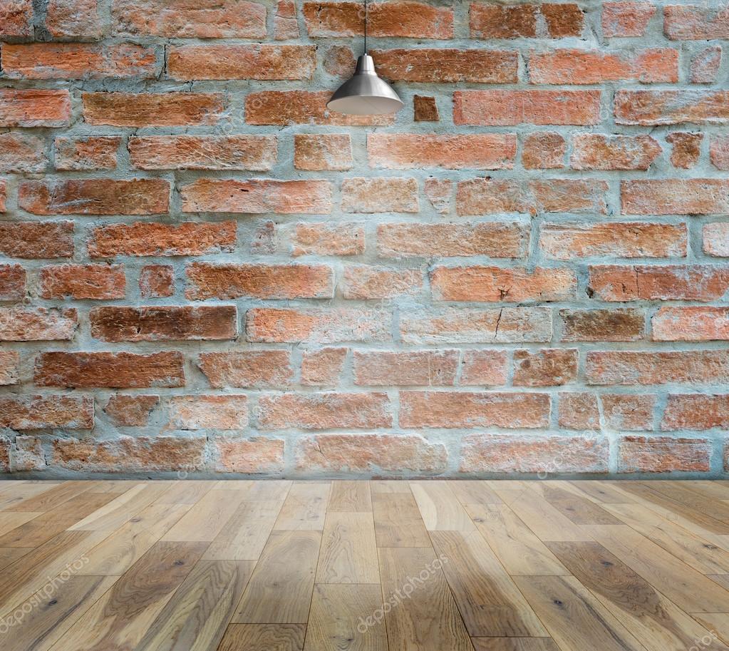 Lampe Am Ziegel Wand Hintergrund Mit Boden Holz Stockfoto C Bigy00