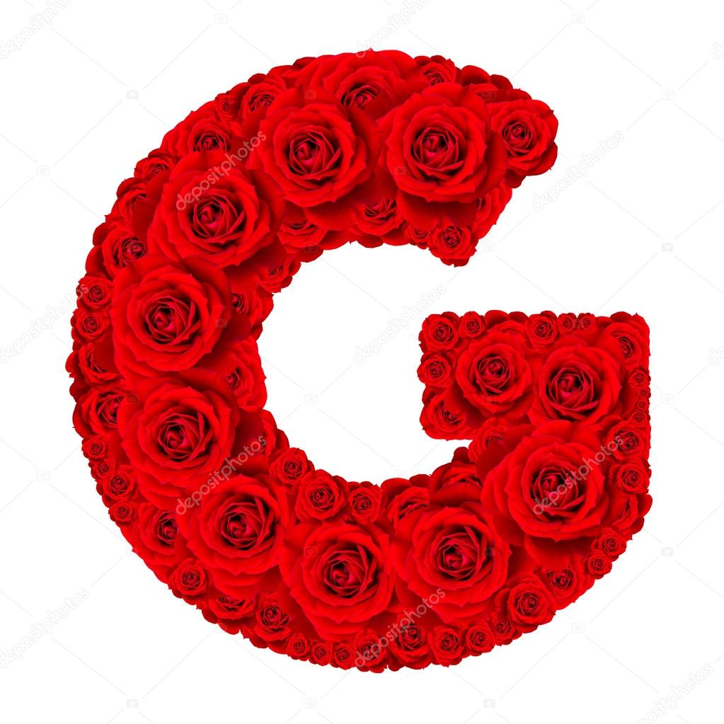 Rose Alphabet Set   Alphabet Capital Letter G Made From Red Rose U2014 Stock  Photo