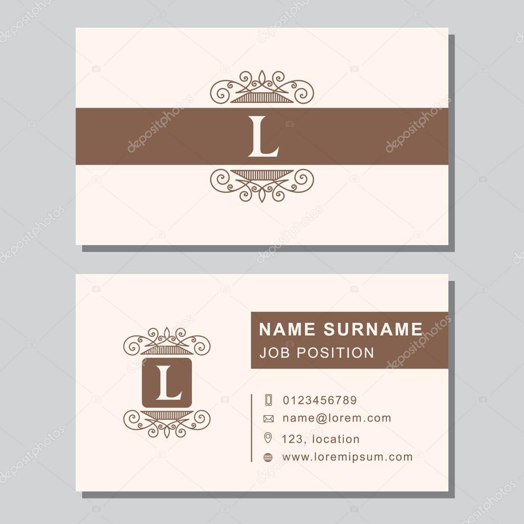 Business card template with abstract monogram design elements ...
