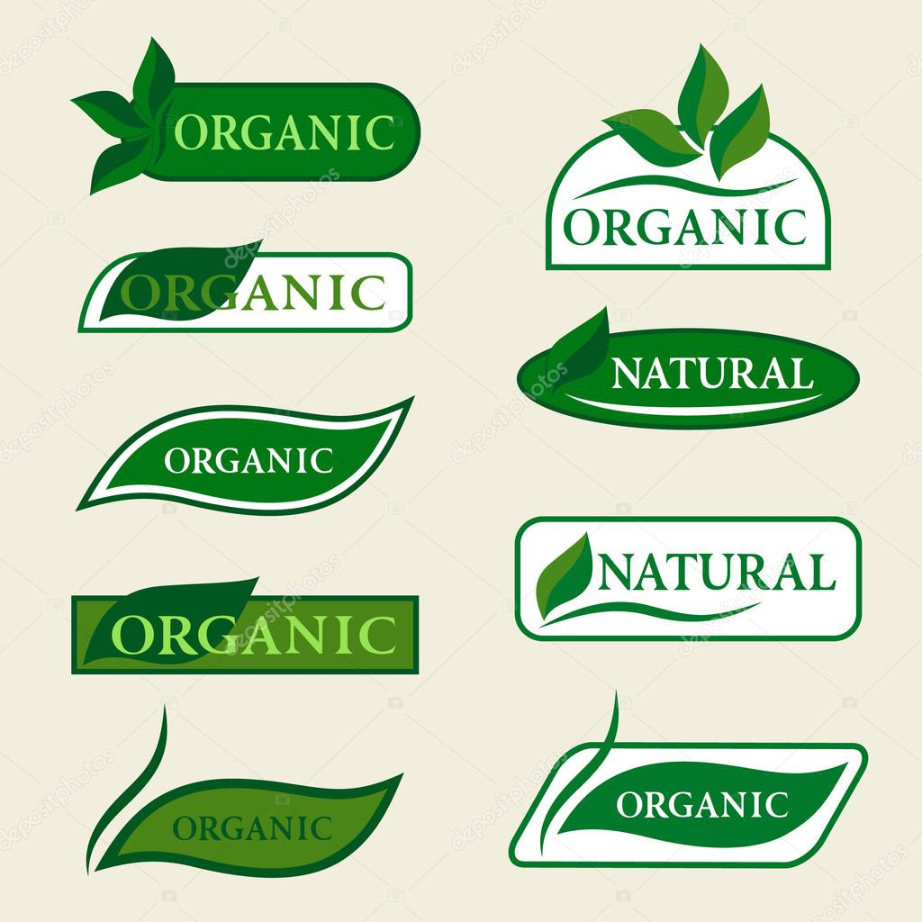 Organic natural logo design template signs with green leaves. Set of badges and labels elements for organic food and drink. Isolated Collection Of Ecology Icons, Symbols. Vector illustration