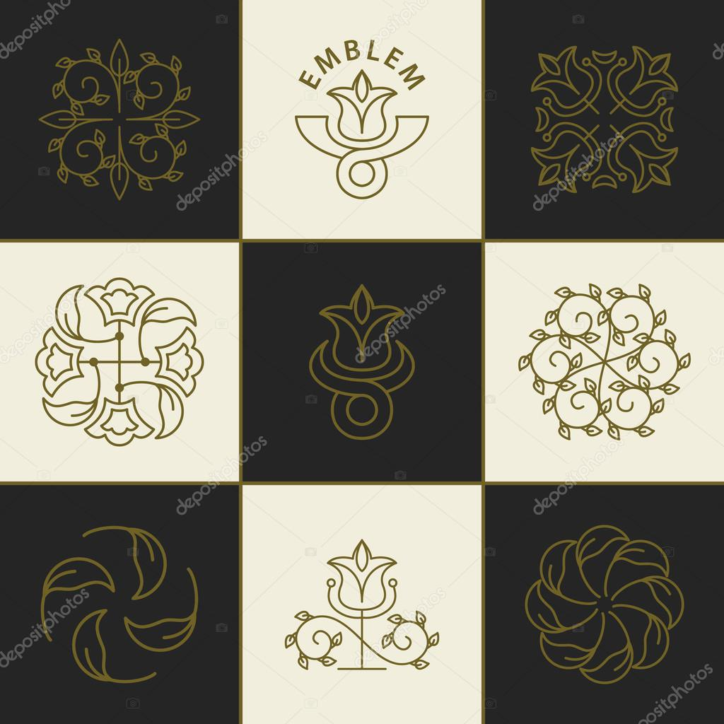 Set of logo design templates and emblems in trendy linear style. Floral and natural cosmetics concepts and alternative medicine symbols. Ecology and organic signs. Vector illustration