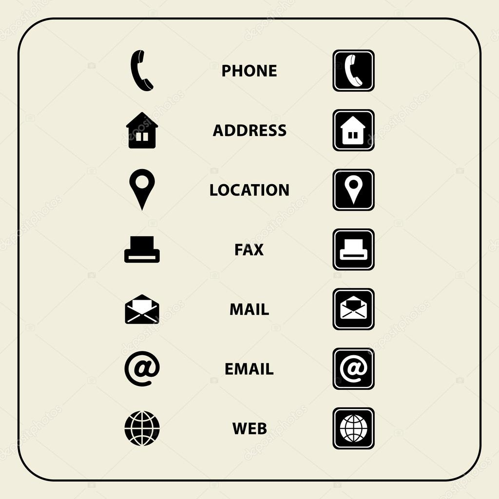 Set of web icons for business cards finance and communication set of web icons for business cards finance and communication multipurpose symbols for design colourmoves Images