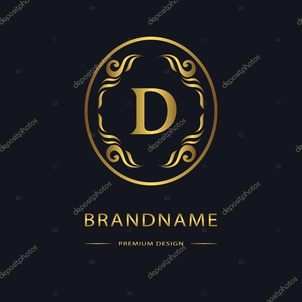 Luksusowe Vintage Logo Znak Firmy Etykieta Godło Litera D