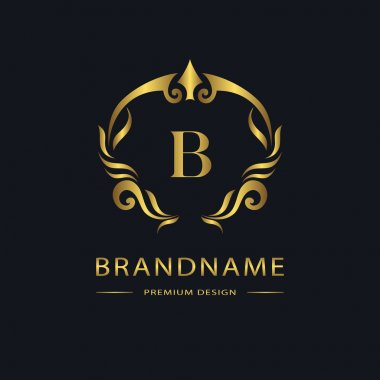 Luxury Vintage logo. Business sign, label. Gold Letter emblem B for badge, crest, Restaurant, Royalty, Boutique brand, Hotel, Heraldic, Jewelery, Fashion, Real estate, Resort, tattoo, Auctions. Vector
