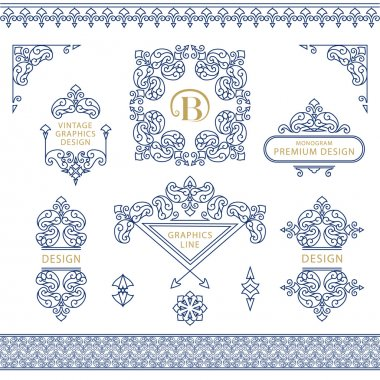 Set of line art frames and borders for design template. Element in Eastern style. letter B. Outline floral frames. Mono line decor for invitations, greeting cards, certificate. Vector illustration