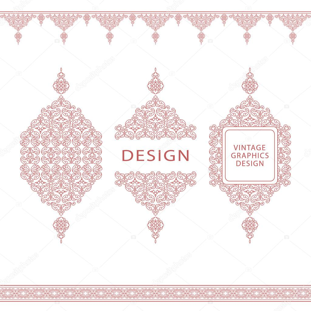 Set of line art frames and borders for design template element in frames and borders for design template element in eastern style outline floral frames mono line decor for invitations greeting cards certificate kristyandbryce Image collections