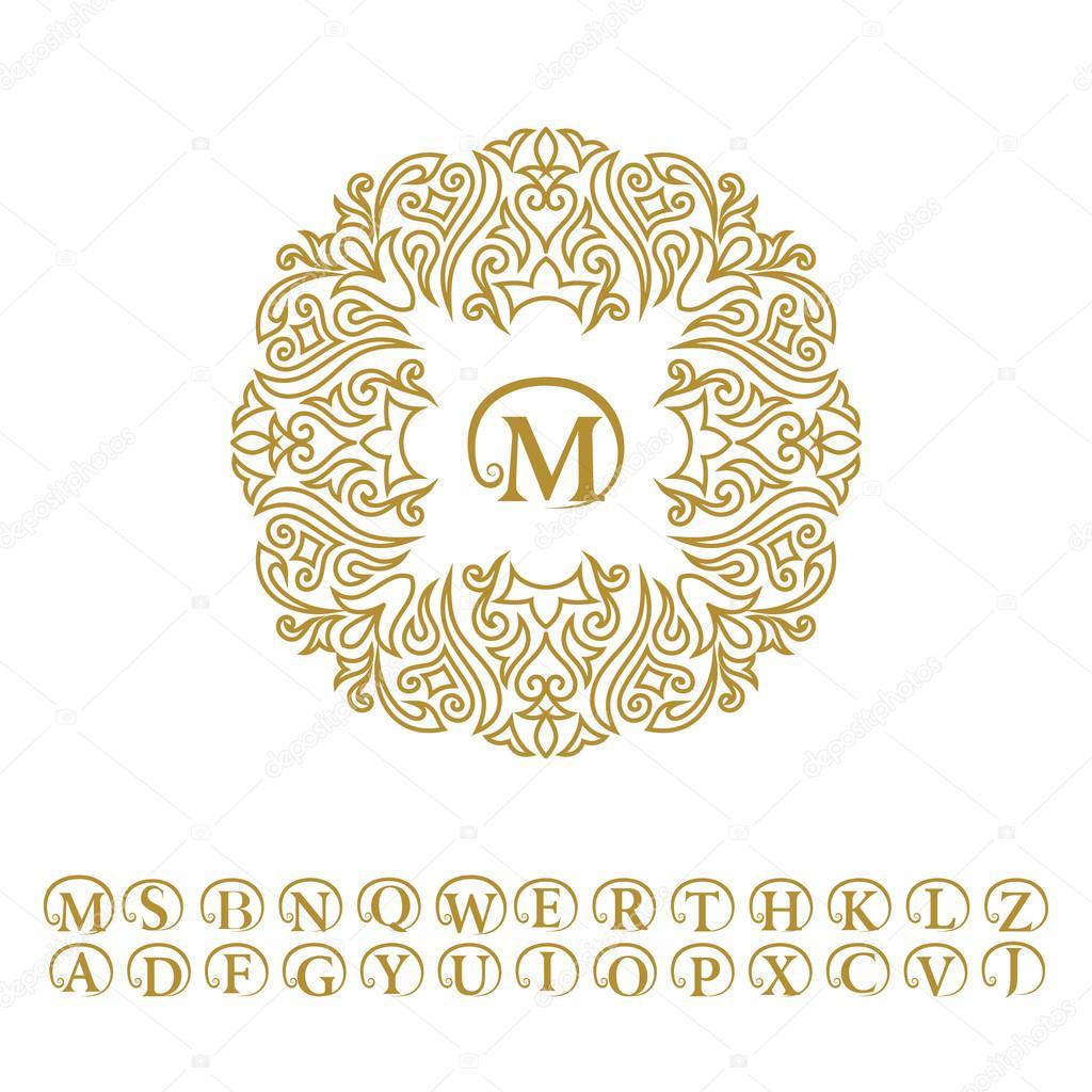 Vintage monogram. Abstract logo, alphabet. Letter emblem M. Line art ...