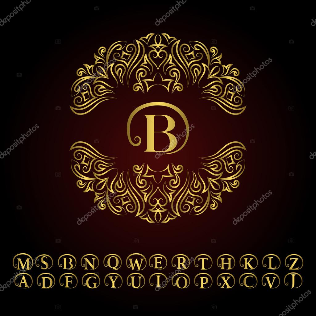Vintage gold monogram. Abstract logo, alphabet . Vector template in ...