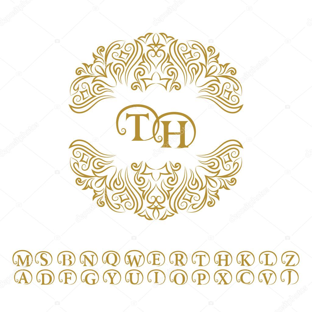 Vintage monogram abstract logo alphabet letter emblem t h line letter emblem t h line art ornament for design template outline circle pattern for wedding invitations greeting cards certificate vector golden frame stopboris Image collections