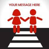 Fotografie Kinder im Straßenverkehr - Schutz der Kinder. Vektorillustration