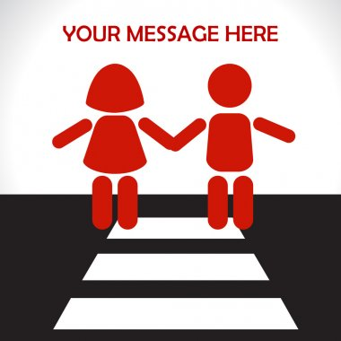 Children on the road - Protection of children. Vector illustration