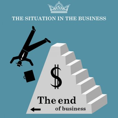 Businessman falls from pyramid. The collapse of business. Bankruptcy. Vector illustration