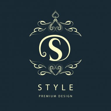 Simple and graceful floral monogram design template. Elegant line art logo design. Letter S. Vector illustration