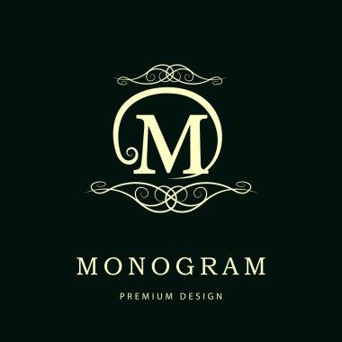 Simple and graceful floral monogram design template. Elegant line art logo design. Letter M. Vector illustration