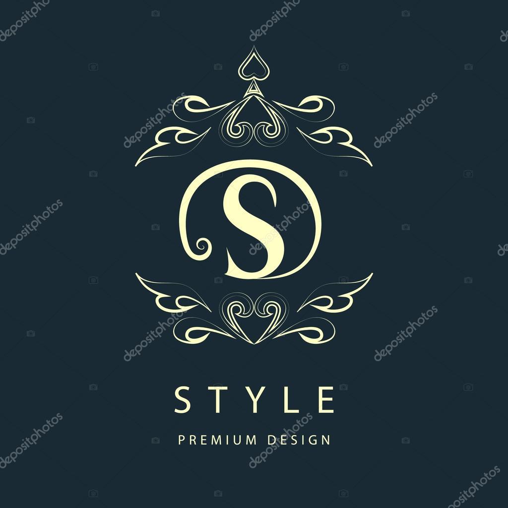 Simple and graceful floral monogram design template. Elegant line art logo design. Letter S. Vector illustration