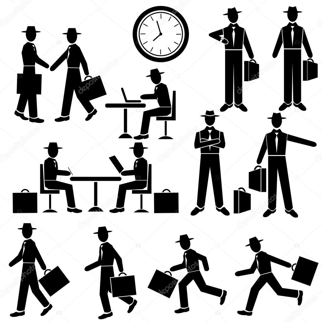 Silhouette Businessman - vector set. Walking and running ...